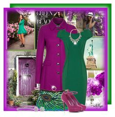 """""""Bold and Bright in Green and Purple Contest 2"""" by kginger ❤ liked on Polyvore featuring Daniel Hechter, Shourouk, Oscar Heyman and Blue Nile"""