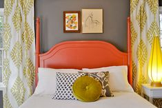Salmon & Chartreuse Bedroom | Beautiful Matters