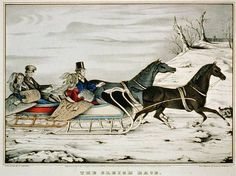 The Sleigh Race Currier & Ives American) Color lithograph Library of Congress Washington DC USA Canvas Art - Currier & Ives x Christmas Past, Vintage Christmas, Christmas Crafts, Christmas Horses, Currier And Ives, Winter Fun, Winter Holiday, Winter Time, Country Crafts