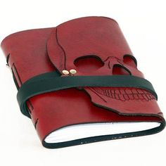 Skrocki Hand-Carved Leather Skull Journal ($82) ❤ liked on Polyvore featuring home, home decor and stationery