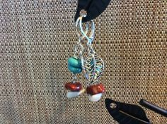 Silver leaf earrings with turquoise and red natural gemstones