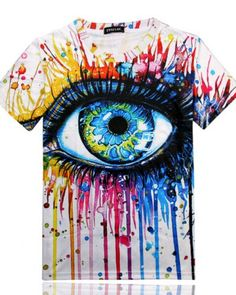 ab7ea77b6 Mens T-shirt Spoof Eyes Print Summer Shirt Fashion Hip Hop Tees Fitness