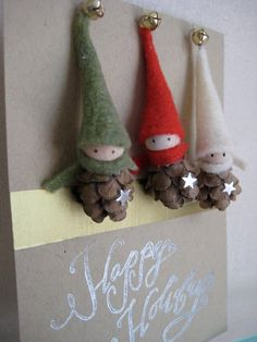 2 Tiny Pine Cone Elves set of 3 ornaments van kaniko op Etsy, $21.00