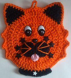 Crochet Halloween Cat Potholder Decoration