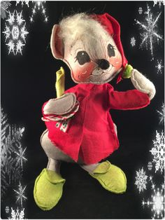 """ANNALEE Christmas 12"""" MOUSE in Sleeping Cap With CANDLE  1971 Vintage  - Rare One -  Collectible by Thriftnstyle on Etsy"""