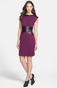 Laundry by Shelli Segal Faux Leather Trim Sheath Dress available at #Nordstrom