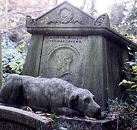 Achingly Beautiful - Grieving Dog Statue - Highgate Cemetery, London