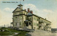 A postcard depicting Cobalt Public School with a much more vivid colouring - The Cobalt Adventure Public Health, Public School, View Image, Small Towns, Cobalt, Vivid Colors, Ontario, Adventure, Colouring