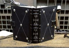 """Journal with Lock and Key, Black Leather - """"The Magic Book"""""""