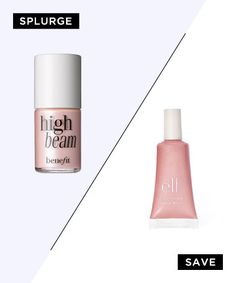 A Lit-From-Within Highlighter: The Contenders: Benefit High Beam, $26 E.L.F Essential Shimmering Facial Whip in Lilac Petal, $1