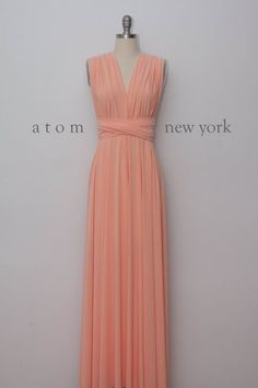 25e7bba215 SOLD OUT Coming back late April Peach Floor Length Gown Long Maxi Infinity  Dress Convertible Formal Multiway Wrap Bridesmaid Dress Evening