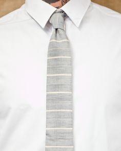 Summer Blue Striped Japanese Lightweight Cotton Tie; Stalward Ltd. &;;