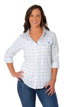 0e5db97366 University Girls Apparel Kentucky Wildcats Plaid Button-Up Top
