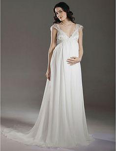 Sheath/ Column Empire V-neck Court Train Chiffon Maternity Wedding Dress - USD $ 179.99