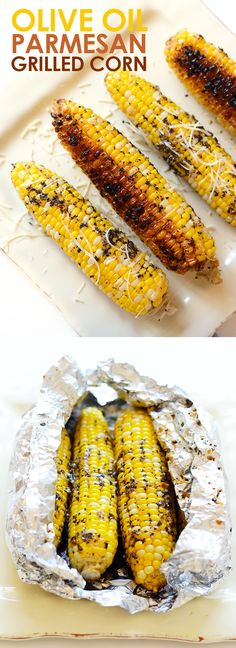 This grilled corn on the cob isn't your average summertime side. Spice up this recipe with olive oil and parmesan cheese for the most flavorful, EASY summertime corn on the cob that can be made right on your grill! Side Dish Recipes, Vegetable Recipes, Vegetarian Recipes, Dinner Recipes, Cooking Recipes, Healthy Recipes, Easy Grill Recipes, Vegetarian Grilling, Barbecue Recipes
