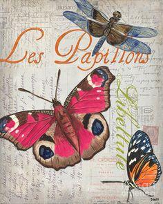 Grey Postcard Butterflies 1 Painting  - Grey Postcard Butterflies 1 Fine Art Print