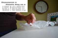 Repurposed plastic bag parachutes... Fun idea!
