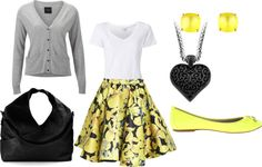 """Teacher Style - Yellow, Grey, and Black"" by becka-boo1220 on Polyvore"