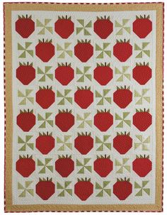 Strawberries quilt, in: Farm-Fresh Quilts: Simple Projects Inspired by the Simple Life, by Kim Gaddy. Kansas City Star Quilts 2013 book.