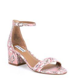 Steve Madden Irenee Floral Block Heel Dress Sandals #Dillards Tan Sandals Heels, Dress Sandals, Dress And Heels, Dillards, Block Heels, Envy, Steve Madden, Jumper, Luxury Fashion