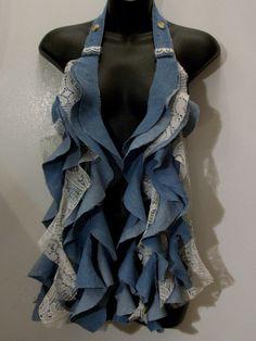 Denim blue jean lace scarf vest top long ruffles by LamaLuz Scarf Vest, Diy Scarf, Lace Scarf, Blue Denim, Blue Jeans, How To Feel Beautiful, Scarfs, Ruffles, Feminine