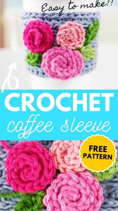 Crochet Mug Cozy, Knit Or Crochet, Crochet Gifts, Free Crochet, Crochet Flower Patterns, Crochet Flowers, Knit Patterns, Knitting Projects, Crochet Projects