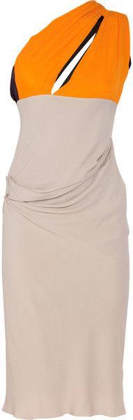 ROKSANDA ILLINCIC Contrast paneled Silk-blend Crepe Dress