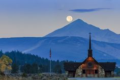 Photo: The full moon sets over the Soldiers Chapel in Big Sky, Montana.  Photography Tip: This image is a high-dynamic range composite that I built from two exposures using Adobe Photoshop Lightroom CC's new Merge To HDR feature. The new Merge To HDR within Lightroom is capable of producing incredible clean photo-realistic results without the need for additional tools or plugins.  Learn more about my digital photography workshops and Adobe Photoshop Lightroom seminars at…