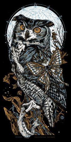 'Arianrhod, Lechuza & Askalaphos' Owl print set by Rhys Cooper - 'Arianrhod' by Rhys Cooper - Owl Artwork, Dark Artwork, Illustrations, Illustration Art, Pop Culture Art, Owl Tattoo Design, Owl Print, Creepy Art, Tattoo Drawings