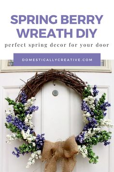 I love how simple this DIY Spring wreath looks to make. I need something for our front door for spring, and this berry wreath looks perfect. Diy Craft Projects, Diy Crafts For Kids, Decor Crafts, Craft Ideas, Diy Spring Wreath, Fall Wreaths, Christmas Wreaths, Wreath Ideas, Diy Wreath