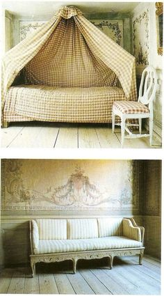Tented bed /Swedish, Gustavian, and Nordic Style Furniture/ Jocasta Innes Swedish Cottage, Swedish Decor, Swedish Style, Swedish Design, Nordic Style, Scandinavian Interior Design, French Interior, Scandinavian Home, Swedish Interiors