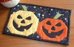 Pumpkin Face Applique Template (Mug Rug) pattern on Craftsy.com