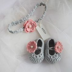 24 Elegant Photo of Crochet Infant Headband . Crochet Infant Headband Hand Crochet Ba Shoes With Headband Attic Notonthehighstreet Crochet Puff Flower, Crochet Bows, Baby Girl Crochet, Crochet Baby Shoes, Crochet Flower Patterns, Newborn Crochet, Crochet For Kids, Hand Crochet, Headband Crochet