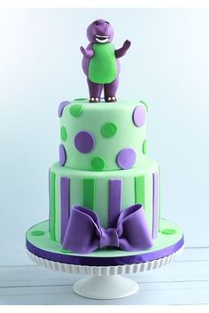Barney birthday cake in green and purple.