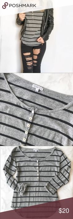 Stylemint Gray And Black Stripe 3/4 Henley This flattering Henley top features small black stripes and a scoop bottom. I love pairing this with distressed jeggings for an edgy look.   💜 Make An Offer! 💜 StyleMint Tops Tees - Long Sleeve