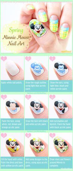 Spring Minnie Mouse Nail Art Tutorial Previous Post Next Post Diy Painting Nails, Nail Art Diy, Fun Nails, Pretty Nails, Minnie Mouse Nail Art, Nails 2016, White Nail Polish, Disney Nails, Beautiful Nail Designs