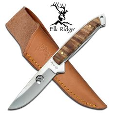 @ShopAndThinkBig.com - Features a solid full tang construction, burl wood accent. http://www.shopandthinkbig.com/full-tang-fixed-blade-knife-elk-ridge-p-927.html