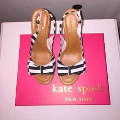 Kate Spade Boardwalk Wedges: Black & White Striped Black and white striped wedges. Never worn, perfect condition. Box included. Size 7. No trades. kate spade Shoes Wedges