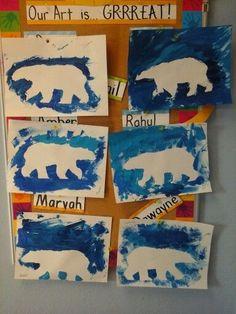 Polar bear silhouettes preschool craft. Polar animals theme.