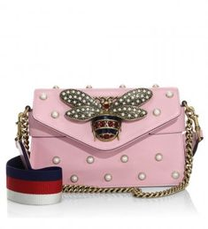 16b2a4128df Gucci Broadway Pearly Embellished Leather Clutch Pink