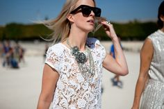 lace top, statement silver necklace