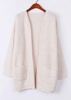 Apricot Long Sleeve Pockets Oversized Cardigan US$32.13