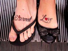 "Couple foot tattoos...  ""Eternal Love"" husband & wife wedding/honeymoon tattoo idea"