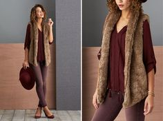 Break up burgundy—or any tonal look—with an outer layer in the same color family. Stick with tones of the same temperature—if you're going all burgundy, a faux fur vest can pull-together hues that have slight variation. | Stitch Fix