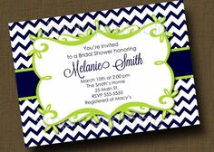 Navy/Lime Green Chevron Bridal Shower by simplyprintable on Etsy, $12.00