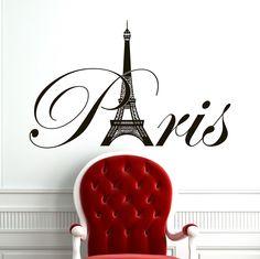 Paris Eiffel Tower Wall Decal Vinyl Lettering Wall Decals Vinyl Stickers Paris Skyline Silhouette France Living Room Art Bedroom Decor C077 #walldecals #skyline #vinylstickers #silhouette