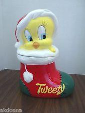 Warner Brothers Tweety Bird Cookie Jar 1993 Christmas Stocking Cookie Jar