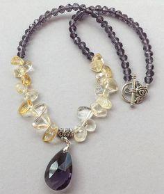 Faceted  purple Czech Glass pendantbeadsCitrine by Sjewelry4u, $9.50
