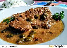 Roštěná s kapary a paprikovou pastou recept - TopRecepty.cz Pork, Beef, Chicken, Red Peppers, Kale Stir Fry, Meat, Pork Chops, Steak, Cubs