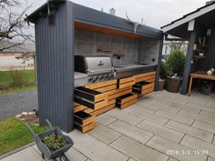 Kompakte aussenküche | Grillforum und BBQ - www.grillsportverein.de Electric Barbecue Grill, Bbq Grill, Grilling, Patio, Backyard, Outdoor Bbq Kitchen, Indoor Grill, Bbq Area, Outdoor Living